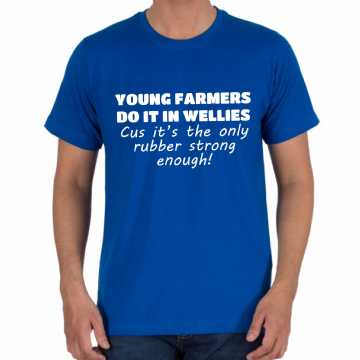 SALE - T-SHIRT ROYAL BLUE - YOUNG FARMERS - LARGE